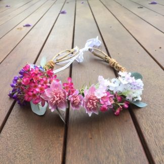 pink purple and white Australian natives flower crown