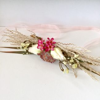 flower half crown with pink blushing bride and grass