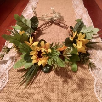 flower crown with sunflowers and leaves