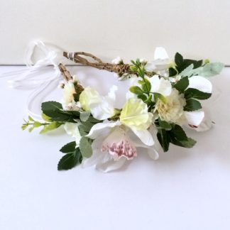 White and Ivory crown with orchids and carnations