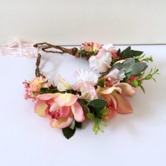 Pink and peach flower crown with orchids and carnations